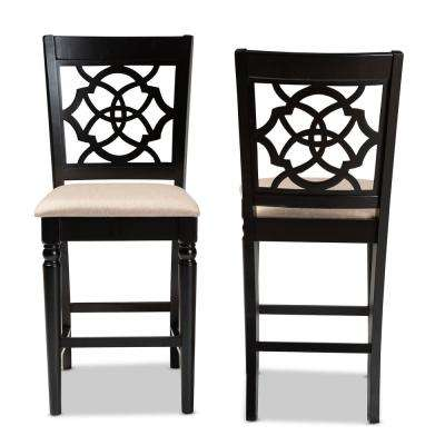 Arden 43 in. Sand and Espresso Counter Stool (Set of 2)