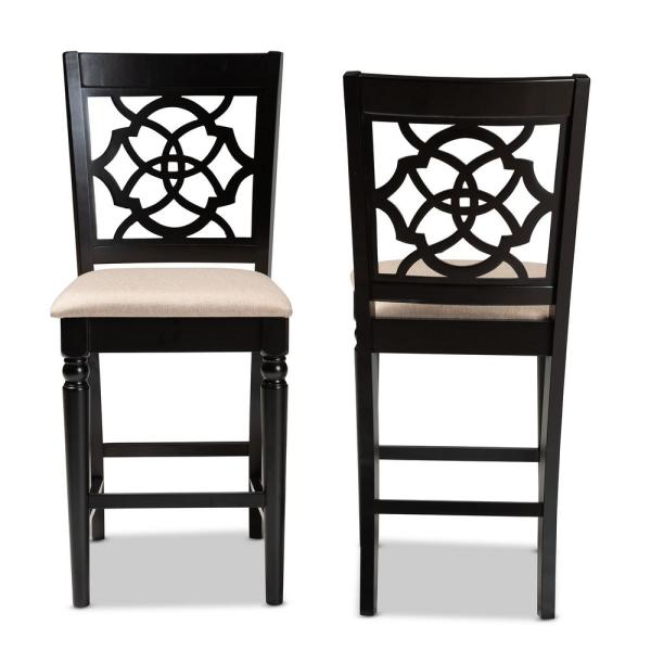 Baxton Studio Arden 43 in. Sand and Espresso Counter Stool (Set of 2)