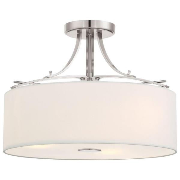 Sea Gull Lighting Vintner 3 Light Satin Nickel Semi Flush Mount Light With Opal Etched Glass Shade Sf317sn The Home Depot