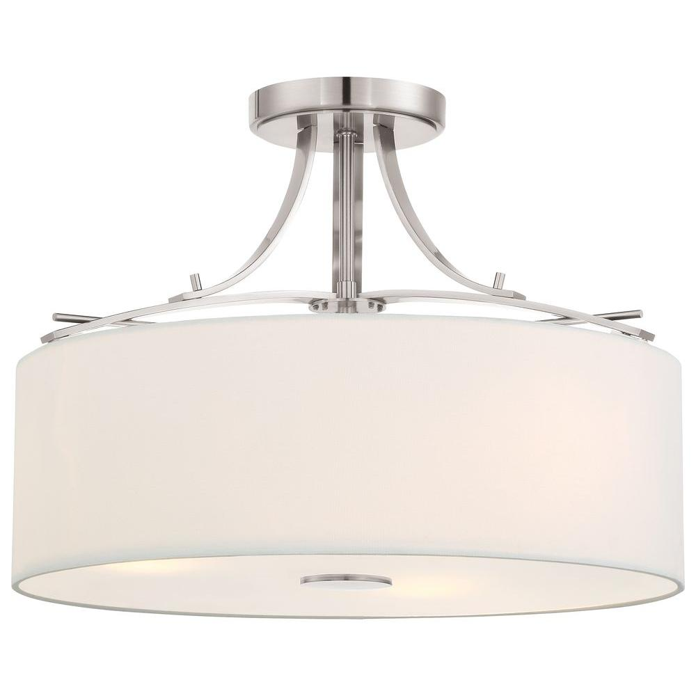 Minka lavery poleis 3 light brushed nickel semi flush mount light minka lavery poleis 3 light brushed nickel semi flush mount light 3307 84 the home depot arubaitofo Choice Image