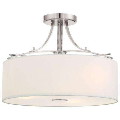 Poleis 3-Light Brushed Nickel Semi-Flush Mount Light