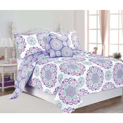 Vivian 4-Piece Multi-Color Twin Cotton Printed Quilt Set