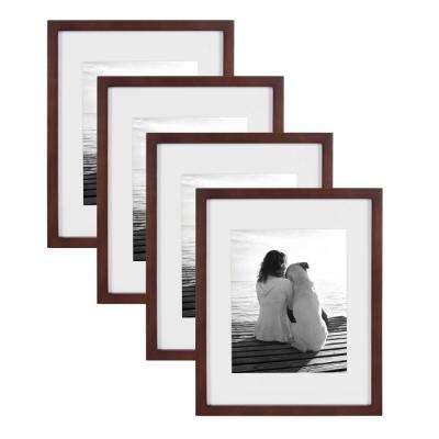 Gallery 11 in. x 14 in. Matted to 8 in. x 10 in. Walnut Brown Picture Frame (Set of 4)
