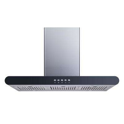 36 in. Convertible Island Mount Range Hood in Stainless Steel with Stainless Steel Baffle Filters and Push Buttons