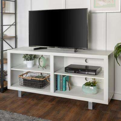 58 in. Simple Modern TV Console with Metal Legs in White
