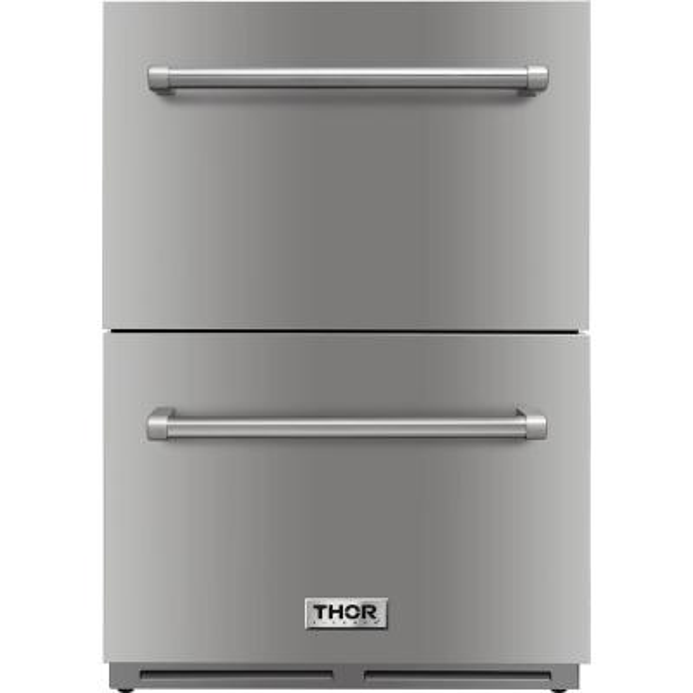 24 in. 5.4 cu. ft. Built-in Indoor/Outdoor Undercounter Double Drawer Refrigerator in Stainless Steel