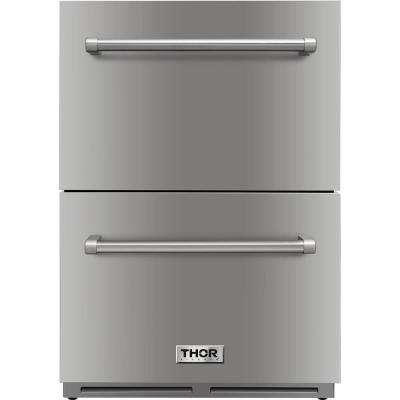 24 in. 5.4 cu. ft. Built-in Indoor/Outdoor Undercounter Double Drawer Refrigerator in Stainless Steel
