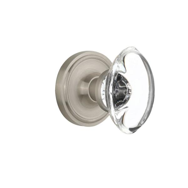 Classic Rosette 2-3/4 in. Backset Satin Nickel Passage Hall/Closet Oval Clear Crystal Glass Door Knob