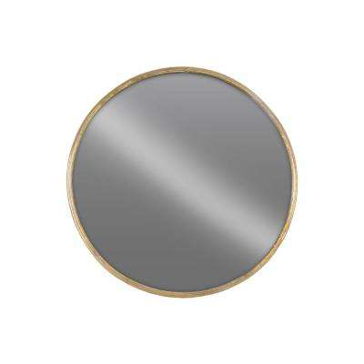 Round Gold Tarnished Wall Mirror
