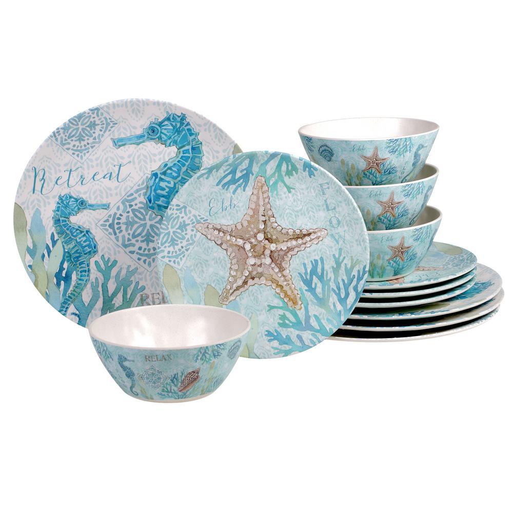 Beachcomber 12-Piece Seasonal Multicolored Bamboo Fiber Dinnerware Set (Service for 4)