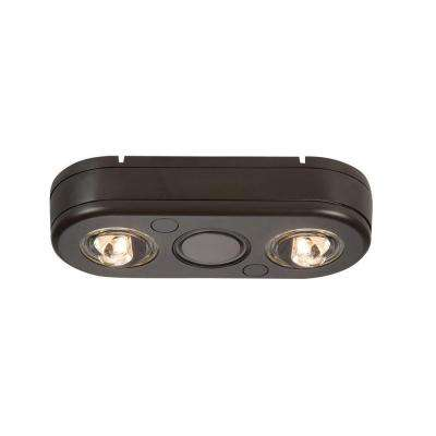 Revolve Bronze Twin Head Outdoor Integrated LED Security Flood Light at 3500K Bright White, Switch Controlled