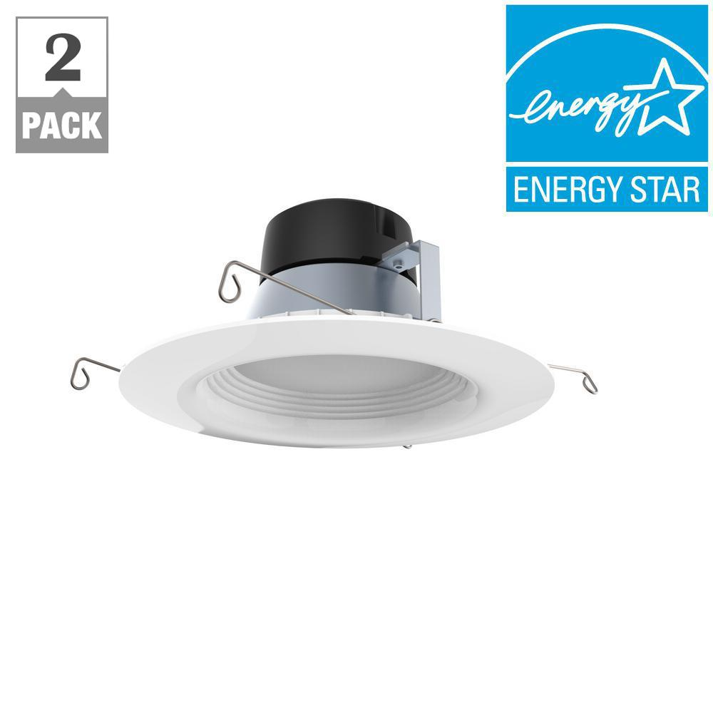 6 in. White Integrated LED Recessed Trim (2-Pack)