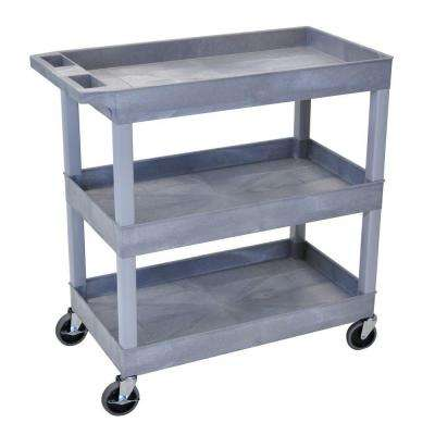 18 in. x 35 in. 3-Tub Shelf Utility Cart, Gray