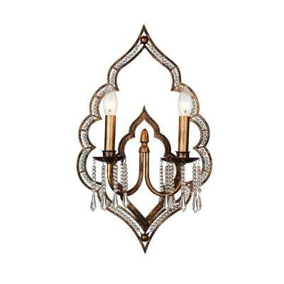 Seine 2-Light Champagne Sconce