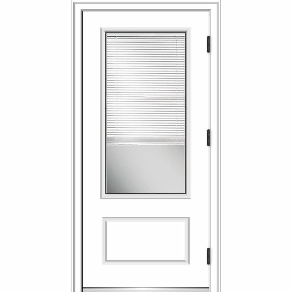 MMI Door 36 in. x 80 in. Internal Blinds Left-Hand Outswing 3/4-Lite Clear Primed Fiberglass Smooth Prehung Front Door