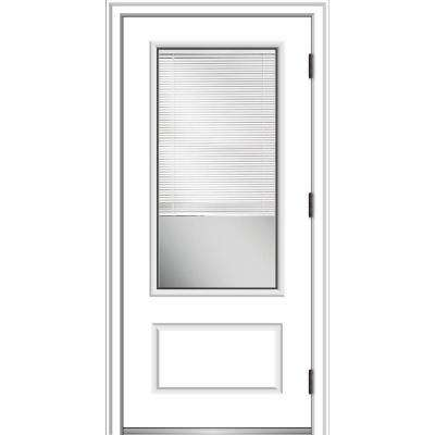 36 in. x 80 in. Internal Blinds Left-Hand Outswing 3/4-Lite Clear Primed Fiberglass Smooth Prehung Front Door