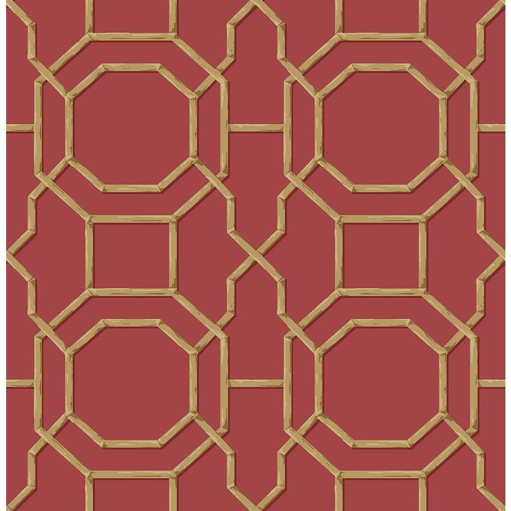 Summer Red Trellis Wallpaper