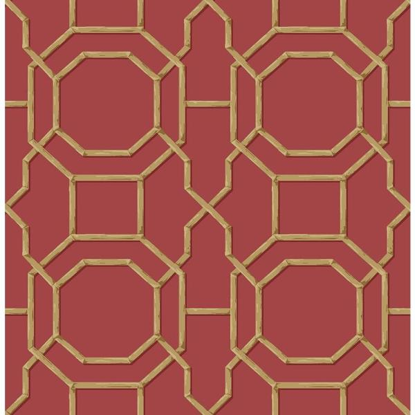 Beacon House Summer Red Trellis Wallpaper 2669-21739