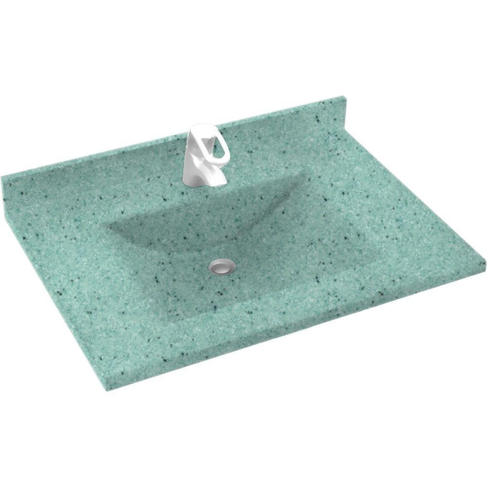 Swan Contour 37 in. Solid Surface Vanity Top with Basin in Tahiti Evergreen-DISCONTINUED