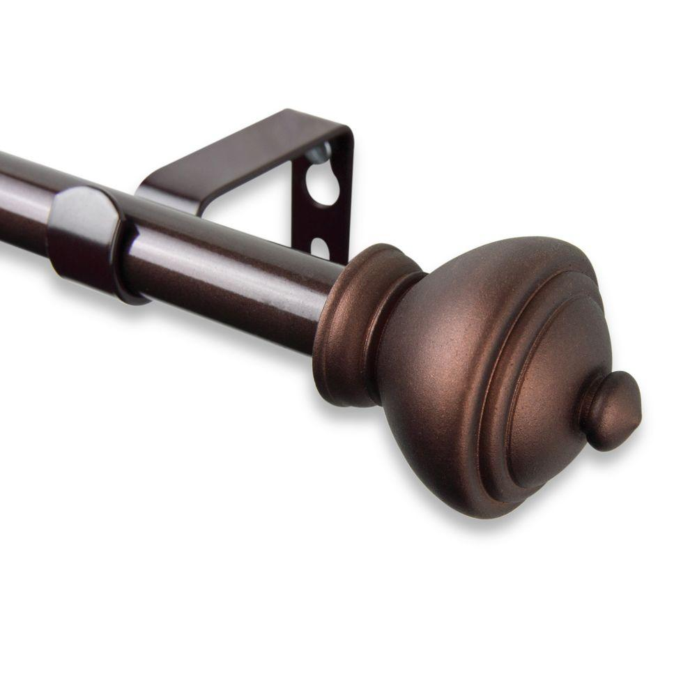 Rod Desyne 28 in. - 48 in. Telescoping 5/8 in. Single Curtain Rod Kit in Cocoa with Savannah Finial
