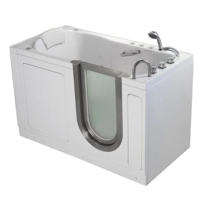 Deluxe 55 in. Acrylic Walk-In Whirlpool and Air Bath Bathtub in White, Thermostatic Faucet Set, RHS 2 in. Dual Drain