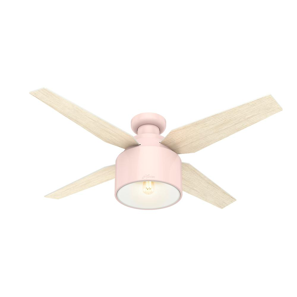 Hunter Cranbrook 52 In Led Low Profile Indoor Blush Pink Ceiling Fan With Light Kit And Remote Control 50263 The Home Depot