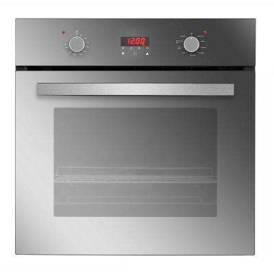 24 in. Push Button and Digital Control 9 Function with Convection Electric Single Wall Oven in Mirror Silver Glass Color