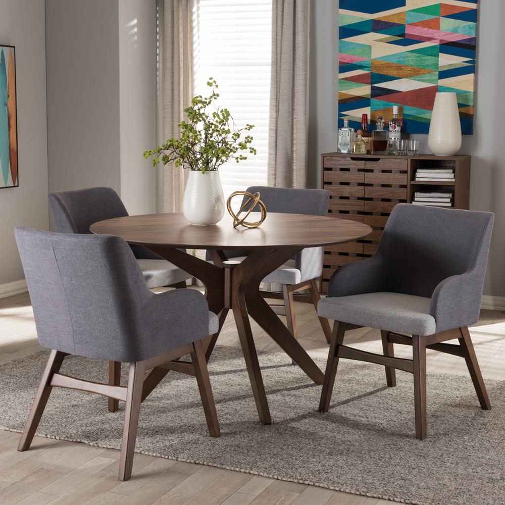 Monte 5 Piece Gray Fabric Upholstered Dining Set