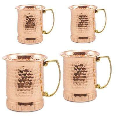 17 oz. Hammered Solid Copper Sui Generis Moscow Mule Mugs (Set of 4)