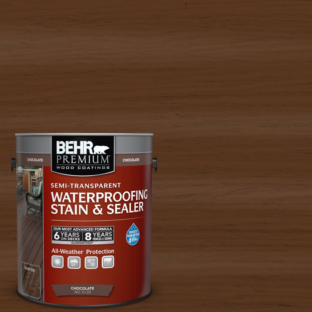 BEHR Premium 1 gal. #ST-129 Chocolate Semi-Transparent Waterproofing Stain and Sealer
