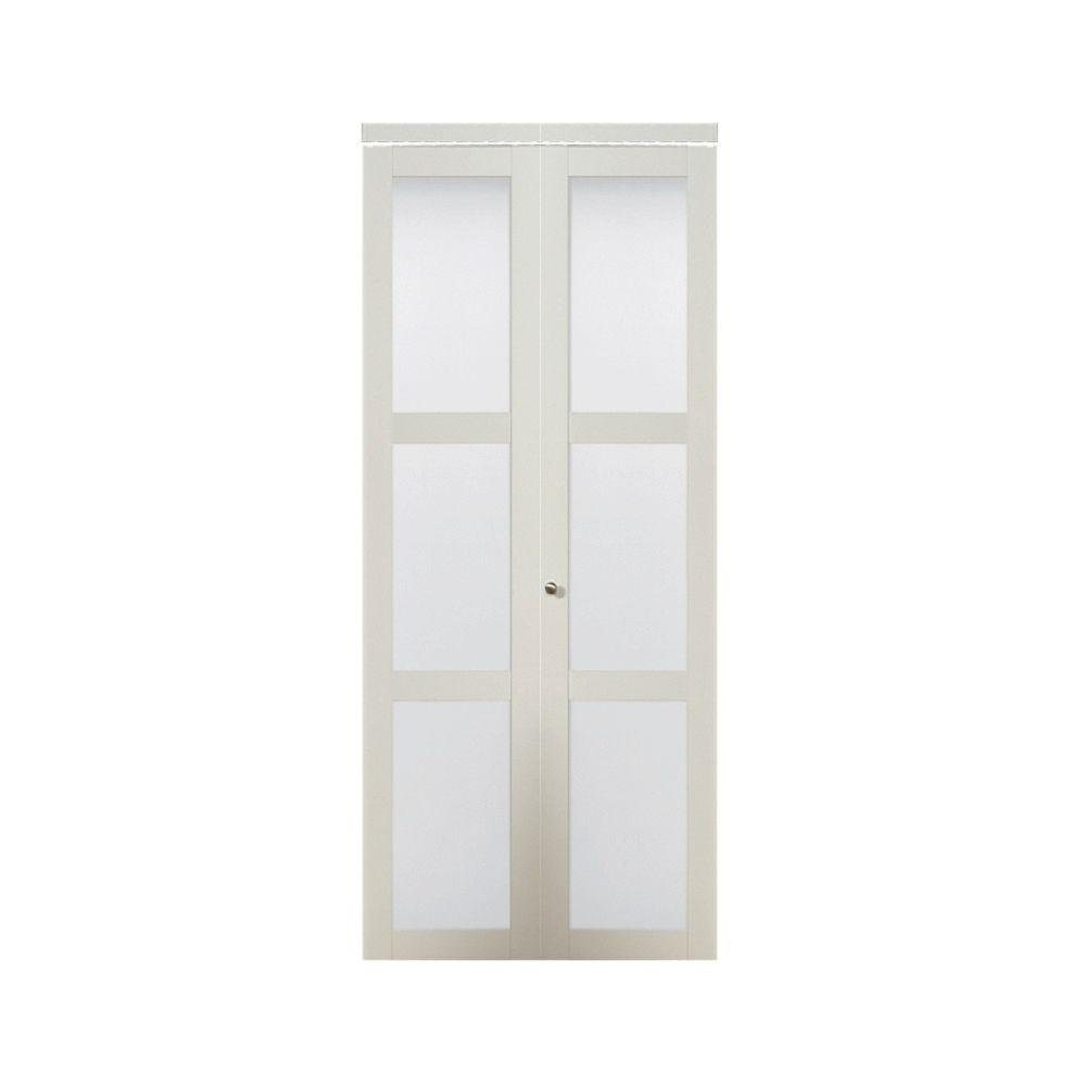 30 in. x 80.50 in. 3080 Series 3-Lite Tempered Frosted Glass