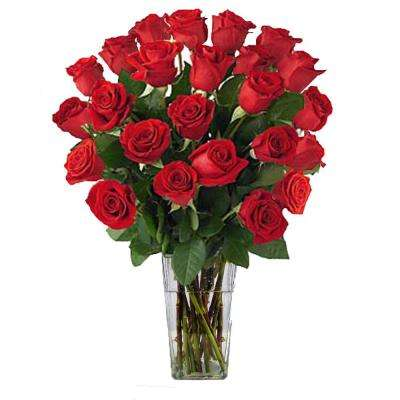 Gorgeous Red Roses Bouquet in Clear Vase (24 Stem) Overnight Shipping Included