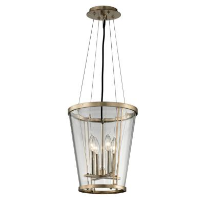 Trapeze 4-Light Champagne Silver Leaf Pendant with Clear Blown Glass Shade