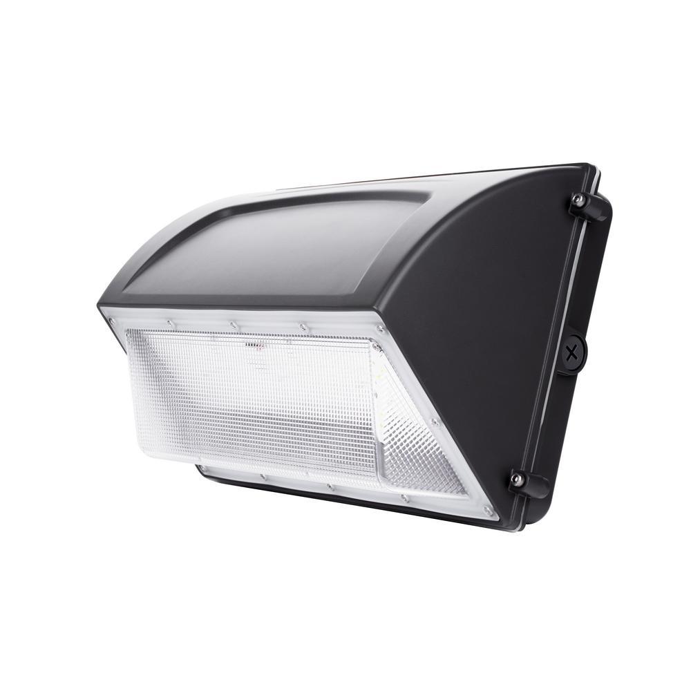 400-Watt Equivalent Integrated LED Black Wall Pack Light 5000K