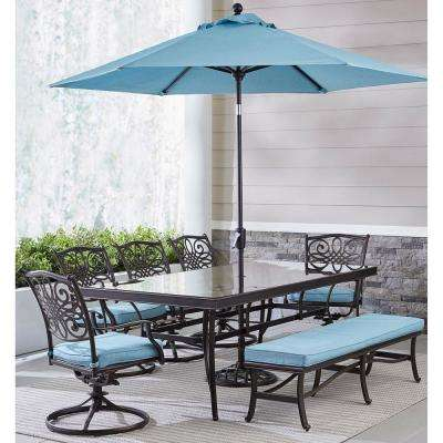 Traditions 7-Piece Aluminum Outdoor Dining Set with Blue Cushions with Bench, Glass-Top Table and Umbrella with Stand