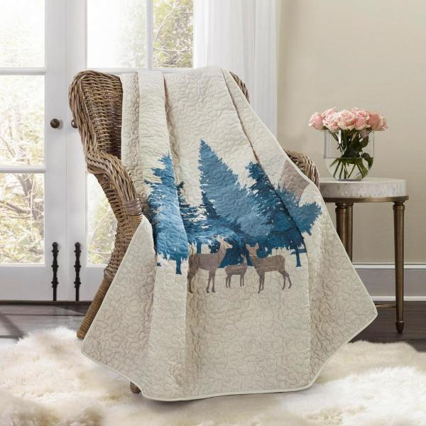 Watercolor Forest Ivory Polyester Throw Blanket