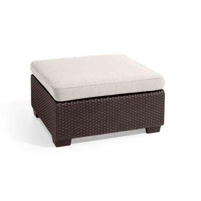Sapporo Brown Resin Outdoor Ottoman with Sunbrella Canvas Cushion
