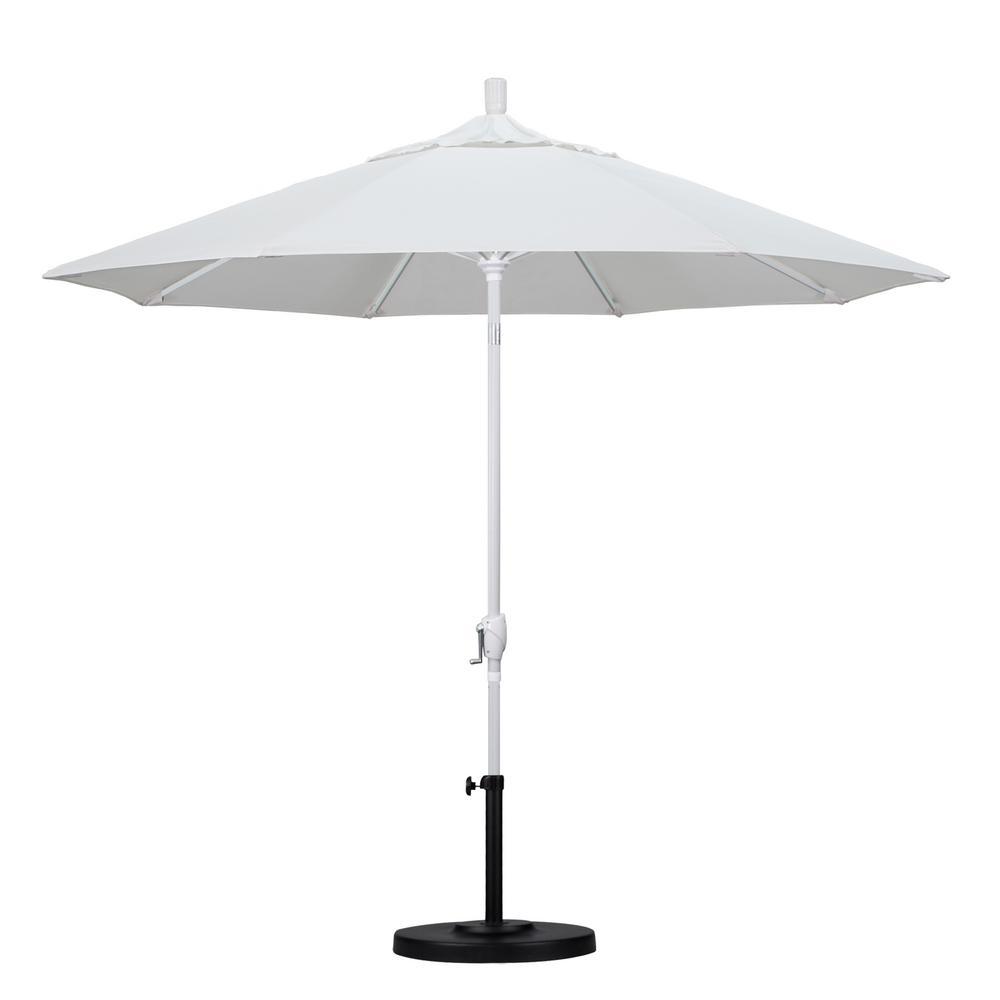 California Umbrella 9 ft. White Aluminum Pole Market Aluminum Ribs Push Tilt Crank Lift Patio Umbrella in Natural Sunbrella