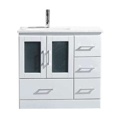 Zola 36 in. W Bath Vanity in White with Ceramic Vanity Top in Slim White Ceramic with Square Basin and Faucet