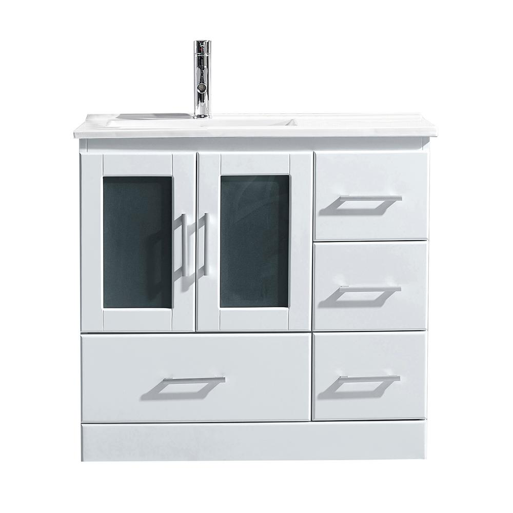 Virtu USA Zola 35.7 In. W X 18.3 In. D Single Vanity In White With Ceramic  Vanity Top In White With White Basin With Faucet MS 6736 C WH NM   The Home  Depot