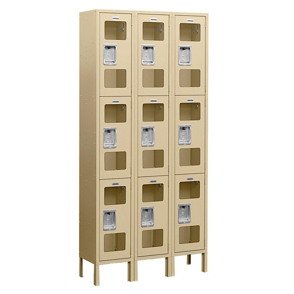 Salsbury Industries S-63000 Series 36 in. W x 78 in. H x 18 in. D 3-Tier See-Through Metal Locker Assembled in Tan