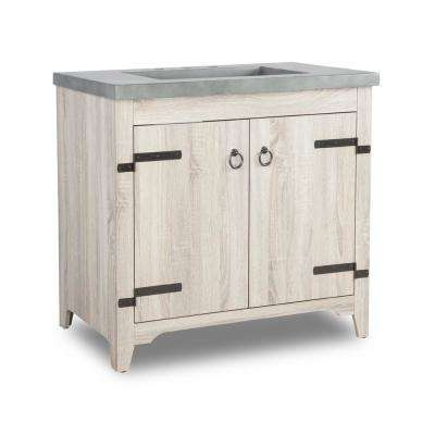 Mendo 36 in. x 21 in. D Vanity in Fir Wood Grain with Faux Cement Vanity Top in Grey with Grey Basin