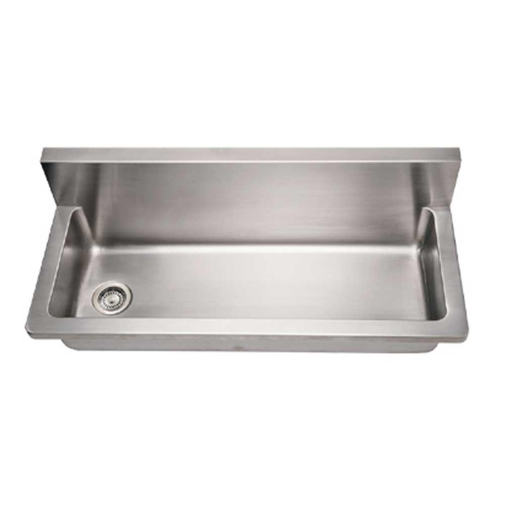 Whitehaus Collection Noah's Collection Wall Mount Brushed Stainless Steel 44 in. 0-Hole Single Bowl Kitchen Sink