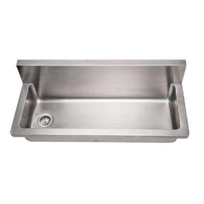 Noah's Collection Wall Mount Brushed Stainless Steel 44 in. 0-Hole Single Bowl Kitchen Sink