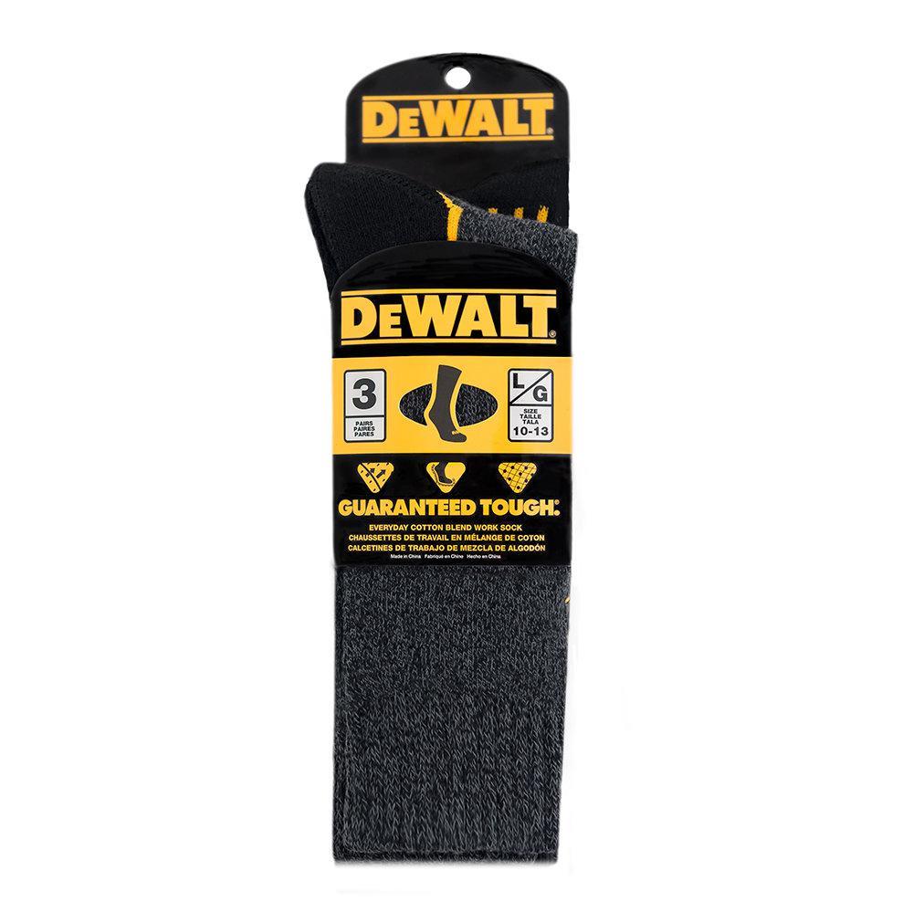 Men 10-13 Black Everyday Cotton Blend Work Crew Sock (3-Pack)