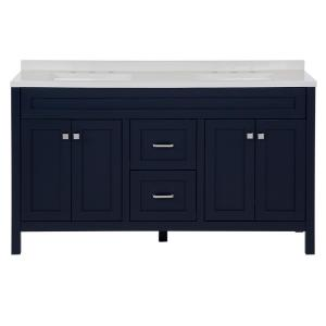 Maywell 60.5 in. W x 18.75 in. x 37.7 in. H Vanity in Blue with Cultured Marble Vanity Top in White