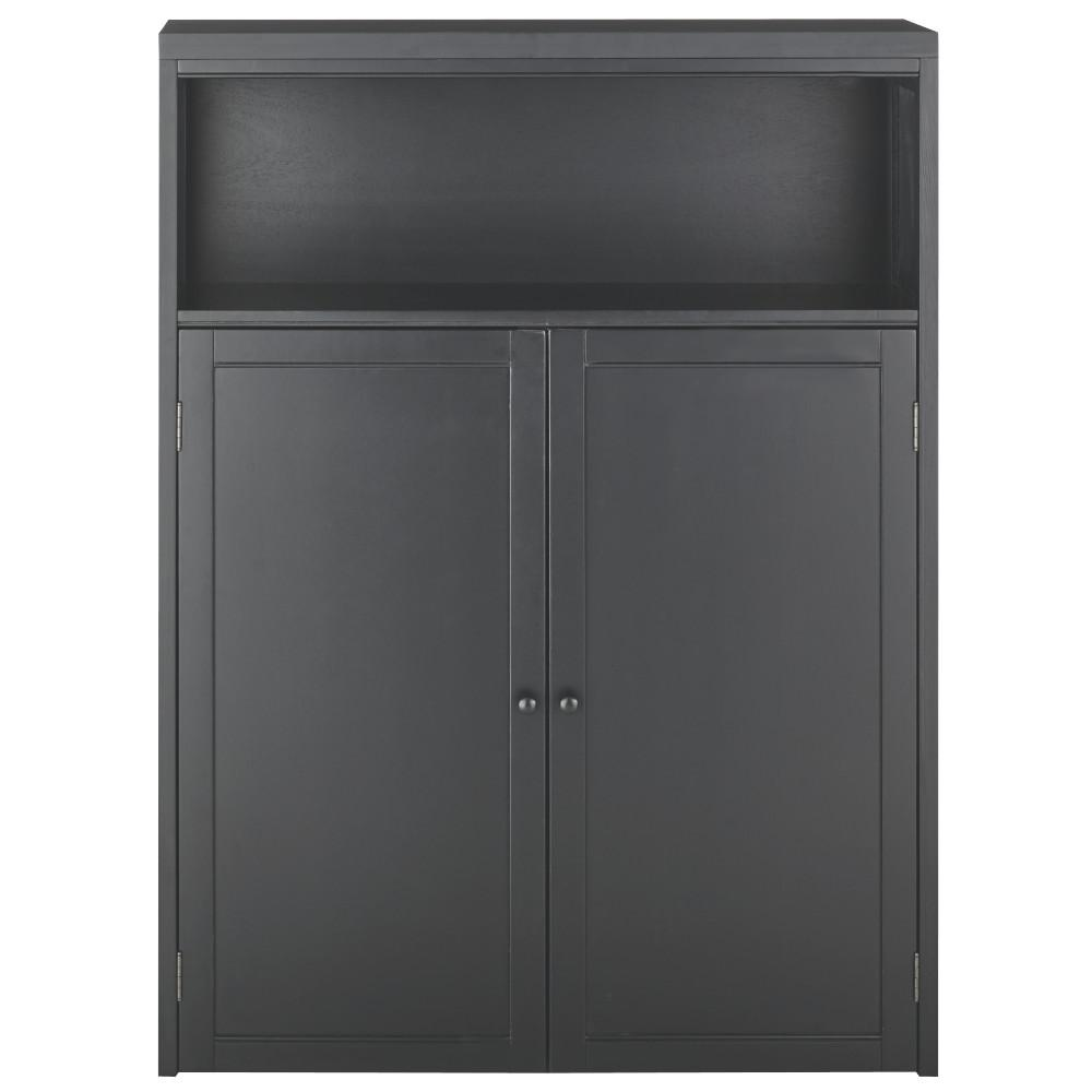 53.5 in. x 40 in. 2-Door Hutch in Worn Black
