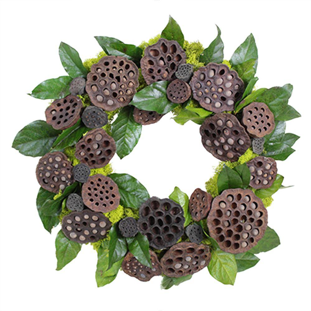 The Christmas Tree Company Lotus Pod Celebration 18 in. Dried Floral Wreath
