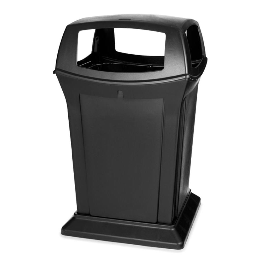 decorative outdoor garbage cans. Rubbermaid Commercial Products Ranger 45 Gal  Black Open Side Trash Can