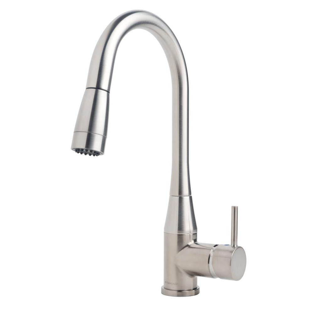 Symmons Sereno Single-Handle Pull-Down Sprayer Kitchen Faucet in Stainless